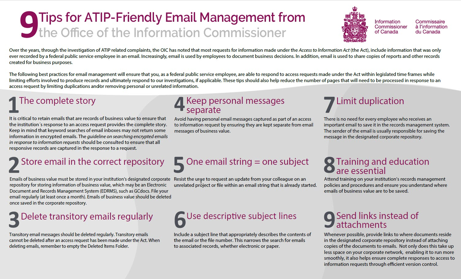 9 ATIP Email Management